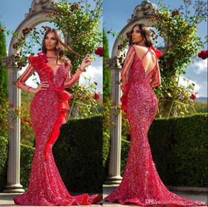 2020 Sexy Aso Ebi Arabisch Red Mermaid Abendkleider Sheer Ansatz lange Ärmel Ballkleider mit Pailletten-formale Partei Second-Kleider