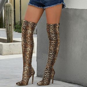 Kadınlar Over The Knee Süet Uyluk Boots Yılan Baskı 11.5cm Yüksek Topuklar Elbise Striptizci Uzun Pleaser Stiletto Kış 2020 Ayakkabı Sonbahar