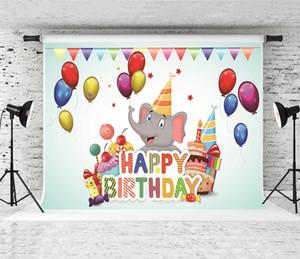 Rêve 7x5ft Joyeux anniversaire Phtotography Elephant animaux backdrop pour Baby Party Ballons Drapeaux Contexte studio Prop Backdrosps