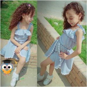 2020 Summer Baby Girls Robe rayée manches Pantskirt lacent bowknot fleur Robes Romper Tenues enfants princesse robe chaude E22601