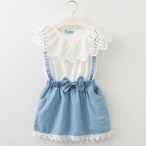 Crianças Meninas Falso Duas Peças Vestido de Renda Verão Branco Camisas Do Bebê Denim Saia Ternos de Vestido Do Miúdo Criança Roupas Crianças Roupas NC063
