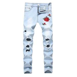 Rose Embroidery Men's Jeans Hi-Street Slim Fit Black Blue Elastic Jeans Men's Broken Hole Denim Jeans