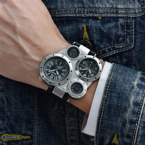 Oulm HP9415 Sportuhren Dual Time Zone Quarz-Armbanduhr Dekorative Kompass-Thermometer Mode Leder Male beobachten