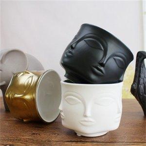 Neue Ankunft Menschliches Gesicht Keramik Pflanzen Töpfe kreativer Hauptdekoration Vorratstank Blumentopf Multi Function Beliebtes Verwenden 15 5slH1