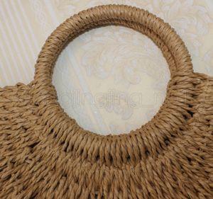 Designer-Round em forma de lua Straw Totes Saco de mão tecido Praia do partido Travel Bag grandes sacos Bucket Verão Mulheres Natural Bolsa FFA1906