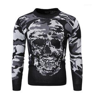 Sweaters Casual Males Clothing Camouflage Skull Priint Mens Designer Sweaters Fashion Slim Pullover Crew Neck Mens