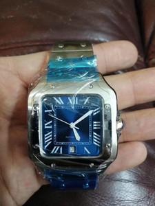 2019 뜨거운 판매 고급 패션 남성 시계 자동 기계 블랙, 블루 테이블 스테인레스 스틸 가죽 접이식 2 형 남자의 시계 버클