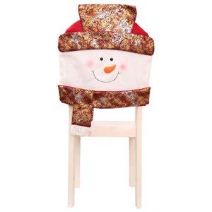 Golden Old Man Snow Chair Cover Set Arreglo de escritorio Dress Up Decoraciones navideñas Merry Christmas Covers Ornament