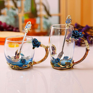Enamel Coffee Tea Cup Mug 3D Rose Butterfly Glass Cups Wedding Gift Novelty elegant carved cup with spoon