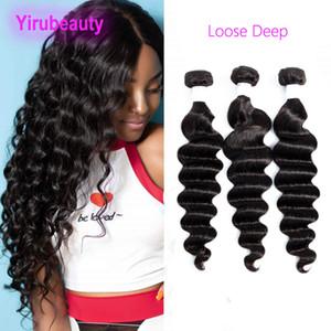 Extensiones suelta de profundidad de color natural al por mayor virginal peruana del pelo 100% Human Hair Products 3 lotes de 95-105g / pieza suelta profunda