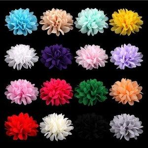 아이들의 머리 장식 2440와 10CM 쉬폰 꽃 아기 소녀 모자 여자 머리 꽃 헤어 액세서리 패브릭 쉬폰 꽃
