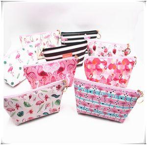 8 Colors Women Bag Pink Flamingo Cartoon Cosmetic Bag Makeup Bag Dumpling Large Capacity Portable Storage Toiletry Bags Zip Pouch D22903