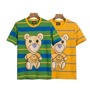 Sarı Yeşil Çizgili DREW Evi tişört Kadın Erkek Moda Tasarımı Yaz Casual Tee Uzun / Kısa Kollu Tops