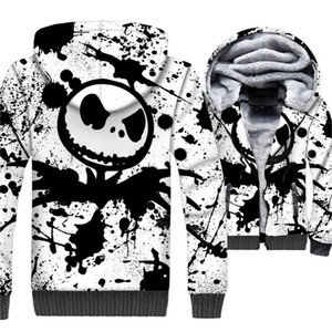 남성용 스웨터 가을 겨울 두꺼운 지퍼 자켓 2018 Streetwear Jack Skellington 3D 인쇄 후드 티 남성용 SKULL Hip Hop Hoody