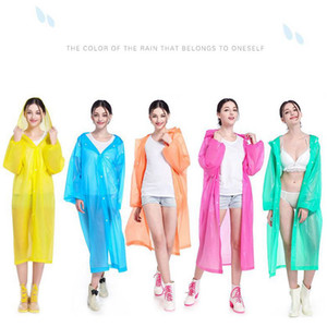 EVA Raincoats Non-disposable Thickened Solid Rain coat E-Friendly Waterproof Raincoat Outdoor Travel Long Rainwear LJJA3831
