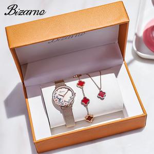 Bizarno2020 Новый пион из трех частей женщин Часы моды Wild Set титановые стали ювелирные изделия Часы