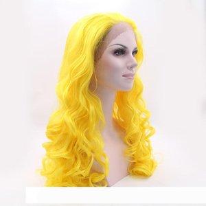 The Avengers perruque pastel costume pelucas perruque devant dentelle synthétique résistant à la chaleur lumineuse orange jaune perruque cosplay bon marché pour femmes lâche c