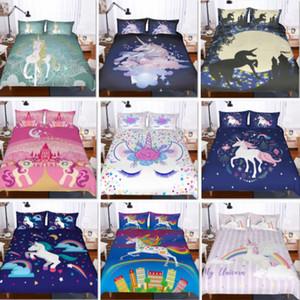 3pcs / set Unicorn conjuntos de cama menina dos desenhos animados Jogo do fundamento Colchas dos desenhos animados capas de edredão para adolescentes Kits capa do edredon + Pillow Case Capa XD21677