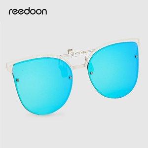 Reedoon Cat Eye Солнцезащитные очки Клип на женщин мужчин поляризованные Зеркало объектива UV400 Солнцезащитные очки клип очки Brand Designer для вождения