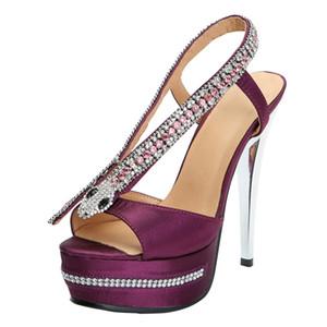 Zandina Nueva Hecho A Mano 2019 Señoras Sandalias de Tacón Alto Satén Cristales de Serpiente Plataforma Slingback Club Zapatos de Oficina N017