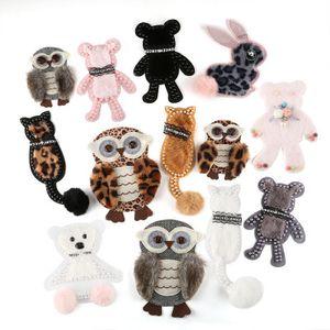 22 accessoires pcclothing brodés autocollants en tissu perles faites à la main poupée autocollants patch dessin animé lapin ours animal mignon accessoires bagages