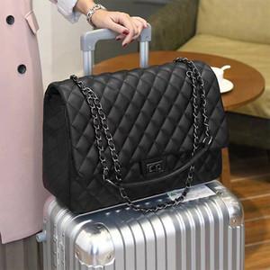 deri bagaj etiketi CGmana Büyük Kapasiteli Çanta 2019 Büyük Omuz Çantası Kadınlar Seyahat Çantaları Deri Pu kapitone Kadın Çanta Bolsa Feminina