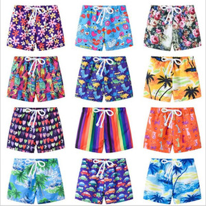 Kids Swimwear 2019 Board Shorts Boys Summer Swim Trunks Child Cartoon Beach Pants Girls Floral Print Shorts Baby Fashion Casual Shorts B4163