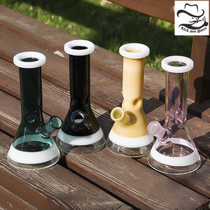 Wasserpfeifen Glas Bong 18mm Female Free Down Stem Oil Dab Rig Schwarz Rosa Farbe Berauschende Bongs Perc Bubbler 955