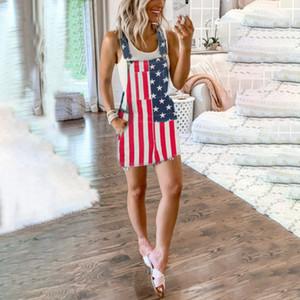 2020 Джинсы Комбинезон День Независимости Унисекс Джинсы Нагрудник Общий Национальный Флаг Повседневный Свободный Комбинезон Уличная Одежда