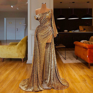 Splendida musulmani abiti convenzionali 2020 Lungamente un Mermaid Prom Dress alta Split Cocktail Party Dress robe de soiree
