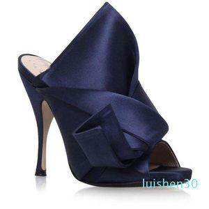 Giallo Verde donne High Heel Sandals Grande Bowtie cerimonia nuziale del progettista del vestito da partito scarpe estive di raso con tacco a spillo diapositive Marca Inoltre AL30