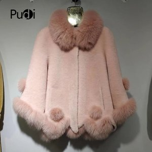 kürk kaput ceket bayan ceket ceket palto ile pudi A17093 kadınların kışın sıcak hakiki yün kürk