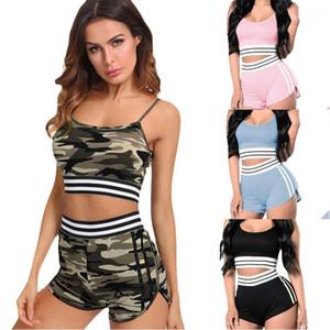 Kleidung Frauen Yoga Laufen Striped Druck Bekleidung Damen Designer Tracksuits Ärmel Top und kurze Hose Fashion Panelled