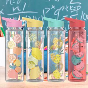 Estilos Sports Straw Cup 720 ml de plástico de frutas Garrafa de água Verão portátil suco de bicicleta Fruit Lemon Cup Água