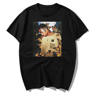 Mode Travis Scott-T-Shirt-Effekt Rap Butterfly Music Album Cover Männer 100% Cotton Sommer Gesicht Hip Hop Tops T-Shirts S-3XL