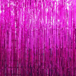 2M Foil Fransevorhang Tinsel Tür-Fenster-Vorhang Metallic-Hintergrund Weihnachten Hochzeit Babyparty Weihnachten Venue Dekor