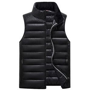 Wholesale-2017 Winter Men Vest Waistcoat Thick Warm Cotton Male Vest Sleeveless Zipper Solid Casual Men Jacket Coat Parkas Clothes Gilet