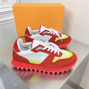 Mens Gradient color leather sneakers, Multi material splicing shoes, Breathable mesh low-top jogging sneakers