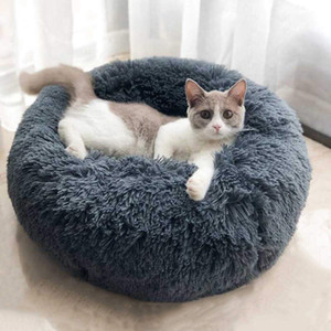 hthomestore Pet Mats Dog Rodada Gato do inverno quente saco de dormir Longo pelúcia macia Pet Bed calmante Bed Indoor Rodada travesseiro para dormir Perro
