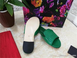 Summer new ladies slippers cowhide top with sheepskin lining and leather bottom round head flat slippers With box size 34-42