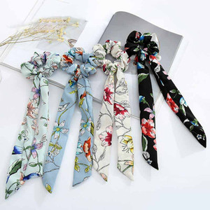 Helisopus Hair Bands Chiffon Bow Long Hair Scrunchies Ladies Fashion Vintage Floral Printed Rope Women Accessories