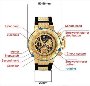 De calidad superior COSC suizo INVICTA modelo invicto súper girando el dial cronómetro luminoso reloj multifunción cuarzo de los hombres del cronógrafo de Calendario