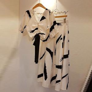 OLGITUM Nuovo Skirt Set estate donne coreane con scollo a V di modo elegante inchiostro da stampa Top lungo di A-Gonna linea vestito due parti ha regolato WS153