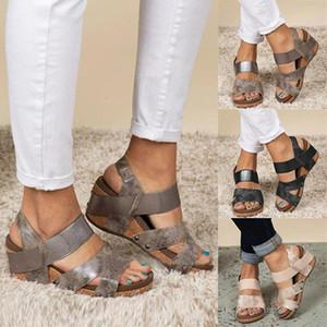 Eillysevens Sandalen Sommer Damenschuhe Damenmode öffnen Zehe-Keil-Plattform-beiläufige Schuh-Sandalen Größe 35-43 # g40