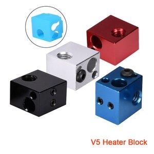 Ucuz 3D Printer Parça Aksesuar 5 Isıtıcı Blok Alüminyum İçin V5 Hotend Silikon Çorap Kapak Uzaktan Extruder 3D Printer Parçaları V6