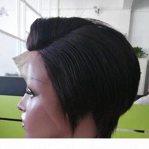 Droit Lace Front perruques de cheveux humains Cheap Pixie Short Cut avec bébé Hair Cut Afrique Hair Style brésilien perruques dames pour les femmes noires