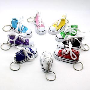 Creativo del anillo dominante de la cadena de mini zapatos de lona zapatos de la zapatilla de deporte de tenis llavero simulación divertida del deporte llavero colgante de regalo LJJA3482-6