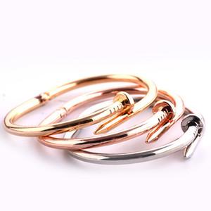 Joyería del clavo tornillo de titanio pulsera de acero Manguito Apertura Pareja brazalete suntuosa pulsera de las mujeres aman a los hombres para el compromiso de San Valentín