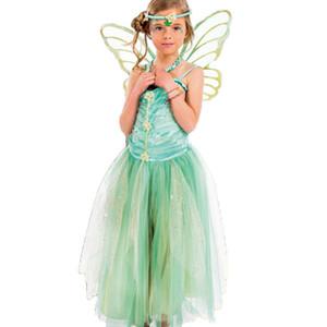 Çocuk Giyim Kız Yeşil Peri Cosplay Prenses Elbise Etekler + Kelebek Kanat + Kafa 3 adet / takım Cadılar Bayramı Partisi Rol Oynamak Kostüm M190