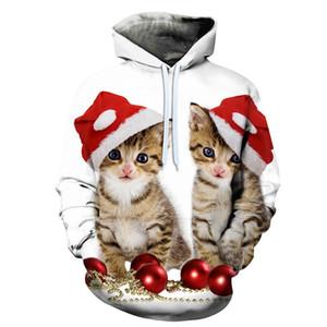 Natale Gatto Animali 3D All Over Stampa girocollo pullover con cappuccio Hipster Streetwear Jumper Donne Abbigliamento Uomo 2019
